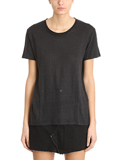 Iro-Luciana black cotton and linen t-shirt