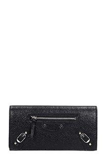 Balenciaga-Portafoglio Classic Continental Money  in pelle nera