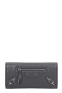 Balenciaga-Portafoglio Classic Continental Money  in pelle grigia