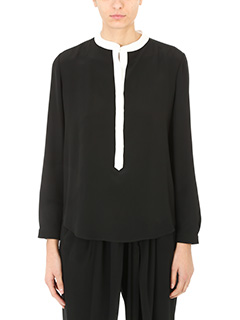 Stella McCartney-Blusa Eva in seta nera bianca