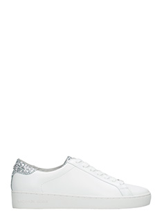 Michael Kors-Sneakers Irving Lace Up  in pelle bianca argento