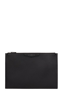 Givenchy-Antigona p Large black leather clutch