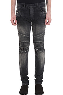 Balmain-Jeans Biker in denim nero