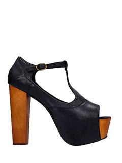 Jeffrey Campbell-Foxy black leather sandals