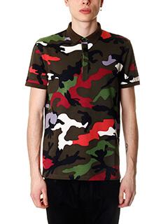Valentino-Polo in cotone camouflage multicolor