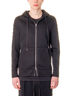 Helmut Lang-Felpa Tape Zip Up in cotone nero