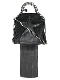 Stella McCartney-Borsa Falabella Mini Fringed Star  in shaggy deer nero