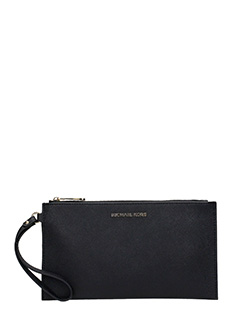 Michael Kors-Clutch Large Zip in pelle nera