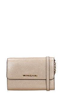 Michael Kors-POCHETTE JET SET TRAVEL LG PHONE CROSSBODY IN PELLE ORO