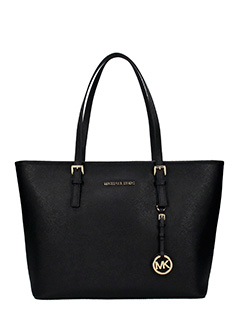 Michael Kors-Borsa Jet Set Travel Md Tz Multi Tote in saffiano nero