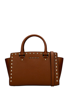 Michael Kors-Borsa Quinn Tz Satchel  in pelle marrone