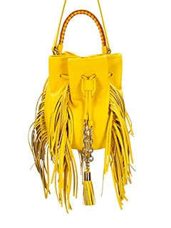 Sara Battaglia-Borsa Fringed Bucket Jasmine in pelle mostarda
