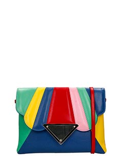 Sara Battaglia-Clutch Bess in pelle muticolor