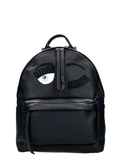 Chiara Ferragni-black leather backpack