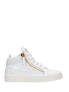 Giuseppe Zanotti-Sneakers  Kriss in vernice bianca. due zip laterali