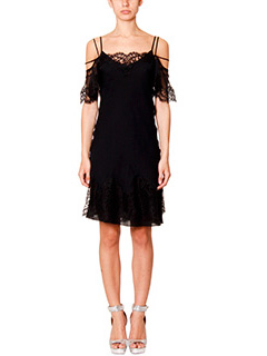 Givenchy-Vestito in chiffon e pizzo nero