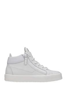 Giuseppe Zanotti-Sneakers  Kriss in pelle bianca. due zip laterali