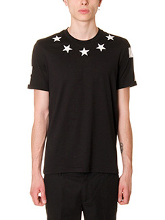 Givenchy-T-Shirt Stelle 74  in cotone nero