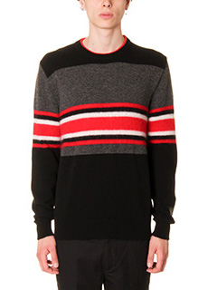 Givenchy-Maglia in lana righe nra grigia rossa