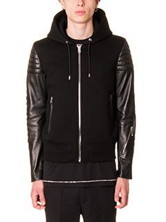 Givenchy-Bomber in lana e pelle nera