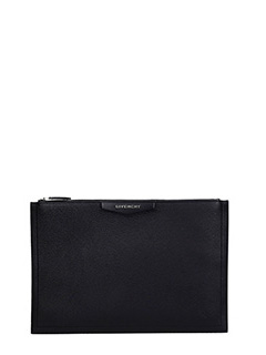 Givenchy-Antigona Large black leather clutch