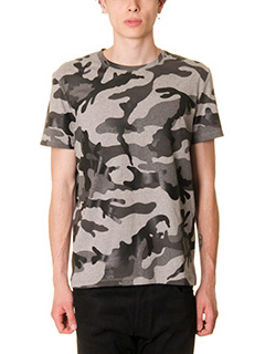 Valentino-T-Shirt in cotone grigio stampa camouflage