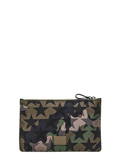 Valentino-Pochette Camustars in tessuto camouflage verde