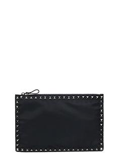 Valentino-Pochette Media in pelle nera