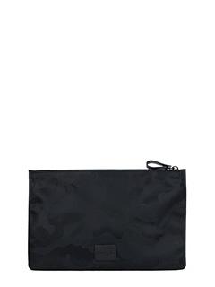 Valentino-Pochette Media in pelle camouflage nero