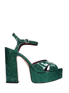 Marc Jacobs-Sandali Debbie Platform in vernice glitter verde