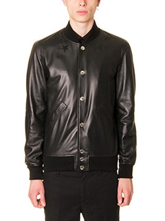 Givenchy-Giacca College in pelle nera