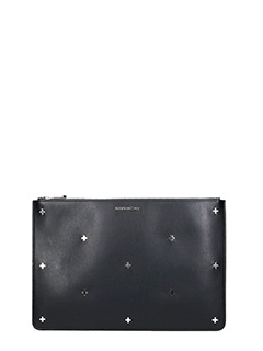 Givenchy-Pandora Large black leather clutch