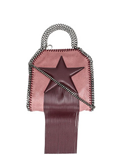 Stella McCartney-Borsa Falabella Mini Fringed Star  in shaggy deer  rosa bordeaux