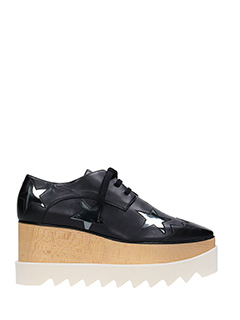 Stella McCartney-Stringate Elyse in alter nappa nera argento