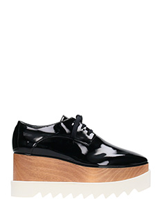 Stella McCartney-Stringate Elyse in vernice nera-plateau in legno 5 cm