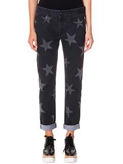 Stella McCartney-Jeans Boyfriend stampa stelle in denim nero