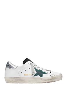 Golden Goose Deluxe Brand-Sneakers Superstar in pelle bianca argento verde