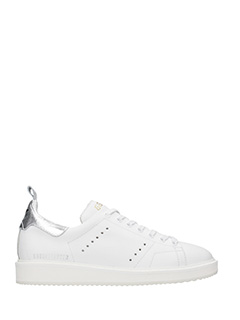 Golden Goose Deluxe Brand-Sneakers Starter in pelle bianca argento