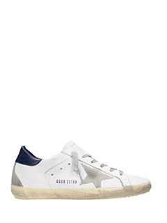 Golden Goose Deluxe Brand-Sneakers Superstar in pelle bianca blue