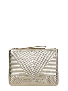 Golden Goose Deluxe Brand-Juliette gold leather clutch
