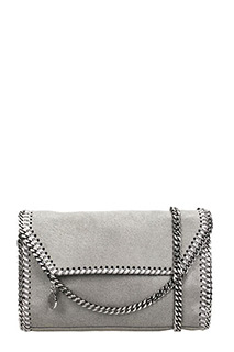 Stella McCartney-Borsa Falabella Mini Shouler  Crossbody in shaggy deer grigio