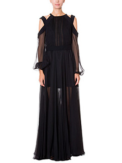 LA MANIA-Vestito lungo Hess in chiffon nero
