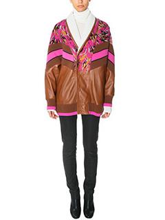 Drome-Giacca Shearling in montone lana e pelle marrone