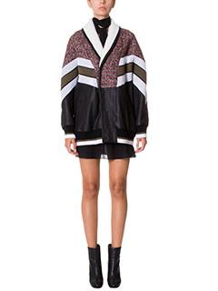 Drome-Giacca Shearling in montone lana e pelle nera bordeaux