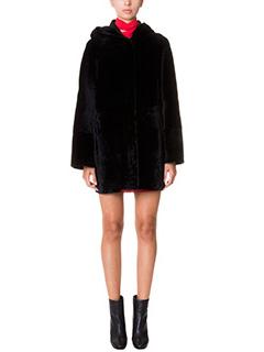 Drome-Cappotto in montone e pelliccia nera