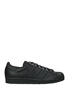 Adidas-Sneakers Superstar 80 S  in pelle nera -lacci
