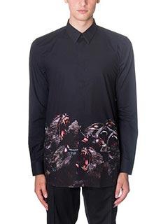 Givenchy-Camicia Monkey in popeline di cotone nero