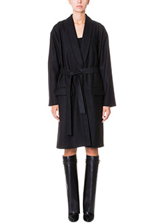 Givenchy-Cappotto Long Trench in lana e cashmere nero