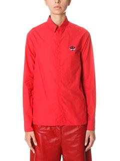 Kenzo-small Tiger logo red cotton shirt