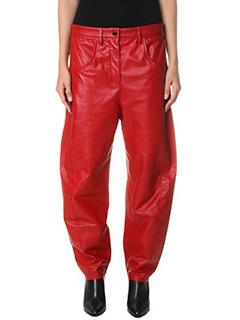 Kenzo-Pantaloni Boyfriends  in pelle rossa